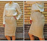 STEAL THIS! Vintage 1980s VALENTINO Sand Linen COUTURE pencil suit Skirt XS