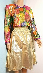 DIANE FREIS' PERSONAL VINTAGE! NWT $550 Boho METALLIC FOIL Beaded 80s Dress 1 SIZE FITS MOST