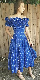 Vintage 1980s BARBOGLIO CRISTINA JAN Polka Dot OFF-SHOULDER Prom PARTY Dress XS