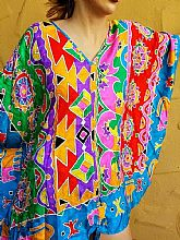 RESORT/CRUISE* $395 NWT DIANE FREIS Vintage 90s SIGNED SILK Tunic Cover-Up DRESS