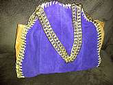 You will receive: (1) Beautiful Large Vintage Blue Leather & Brown Handmade Gold Chain Purse HandbagExtra Details:  This is a very beautiful handmade purse, appears to be made out of blue leather and brown leather vinyl on side. Purse has woven gold