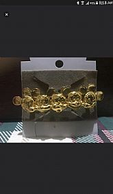 Authentic, vintage Mickey Mouse barrette hairclip in gold tone.