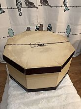 Womens octagonal hat box from May Co. from the 50s when hats were worn everyday. What a time!