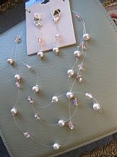 Necklace Splish Splash ILLusion Design of Glass Pearls Swarovski Crystal Two Tone Soft PINK Handmade On Clearance Now