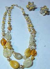 JAPAN Dazzling 1940s Rock Polish Quartz Two Strand Necklace Set with Mother of Pearl Hand Polish Beads