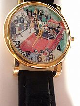 REtired 80s GUESS Watch Gold Plated Watch Genuine Guess Leather Band International Shipping On Sale