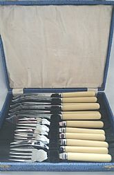 Vintage Fish Knives and Forks set, boxed