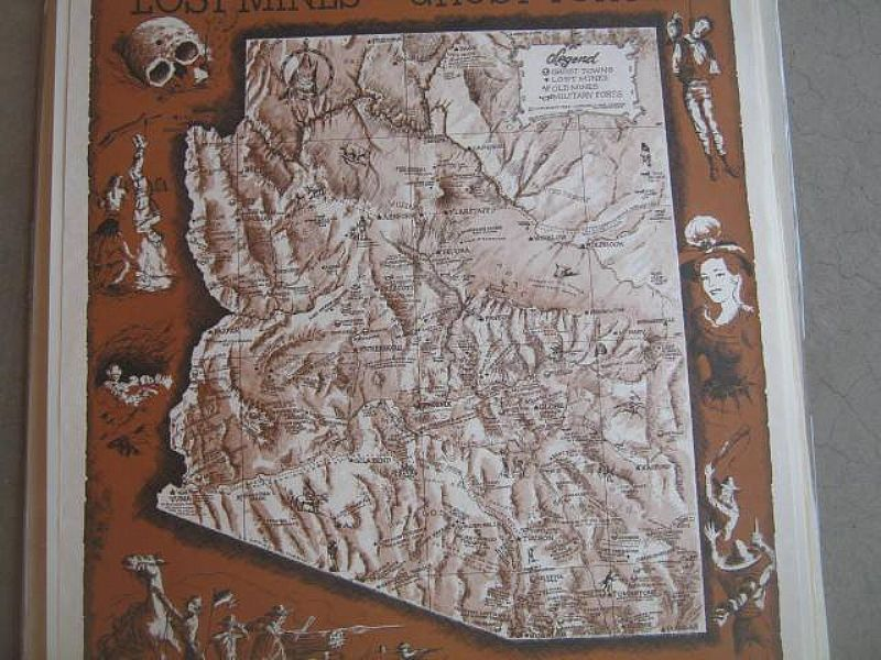 Map Of Arizona Ghost Towns.Vintage Arizona Ghost Towns Lost Mines And Frontier Military Forts