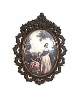 Vintage Miniature Florentine Picture THE READING Hilair Italy Oval Metal Frame.