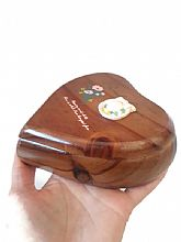 Vintage Design TUNG LING Heart Shaped Wooden Jewelry Trinket ORIGINAL Wood Box.