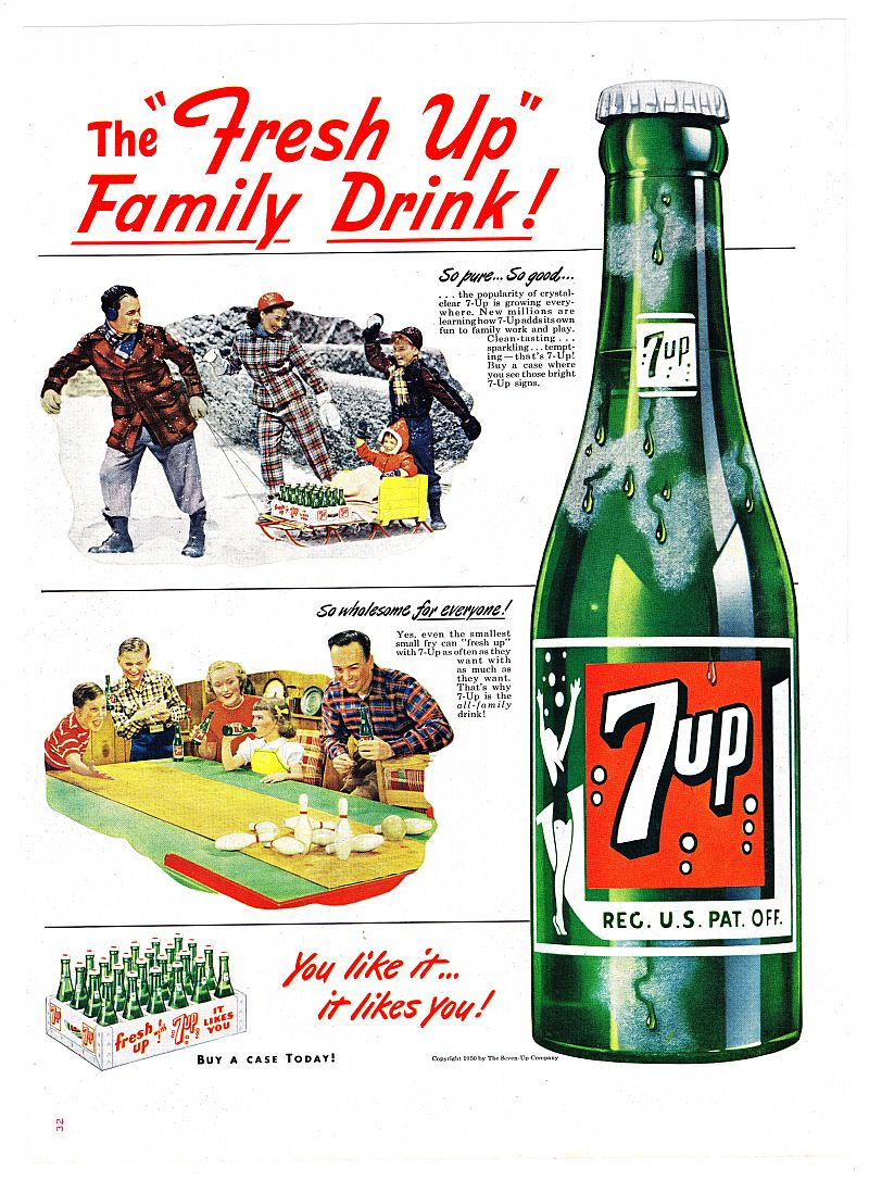 1950 Ads 7up Seven Up Amp A Amp P On Reverse