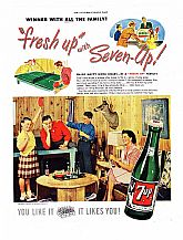 1948 7UP SEVEN-UP Ad - Ping Pong Theme