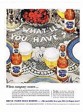 "1953 PABST BLUE RIBBON Beer Ad - ""When company comes..."""