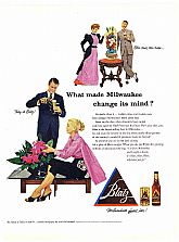 "1953 Ads : BLATZ BEER - ""What made Milwaukee change its mind?"" & PLANTERS PEANUTS - Easter Theme (on reverse)"