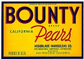 Vintage Fruit CRATE LABEL - 'Bounty' Brand Pears ~ c.1940s