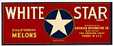 "Vintage Fruit CRATE LABEL - 'White Star' Brand ~ ""California Melons"""