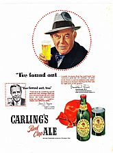 "1950 Ads : CARLING'S Red Cap ALE  - feat. Grantland Rice & KOTEX - ""Very personally yours"" (on reverse)"