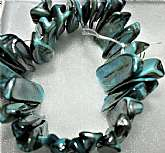 1990's VTG GlaM Vintage Mother Of Pearl Oyster Shell - Bracelet, One Size, Turquois Color, Quality Hand Made Design, New-Unworn