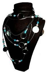 Sybil Resurrected Choker, Necklace One of a kind, Glass, Mirror, Stone, Beads and LeatherVariant ways of wearing*