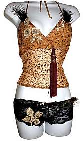 Sybil Resurrect Burlesque Sequin Top & Panty sm-xlplease email us your desired panty size we will custom make in a dayFor an additional $8.00 I will gladly send you brand new thigh high stockings black or Gold, just email me ill adjust price and g
