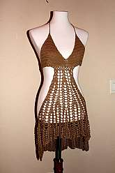 Like New VTG REHAB Crocheted Khaki Summer Dress, Gorgeous Beach Swim Cover,amazing condition flawless, One size SM, MED, LG, adjusts in length to upper thigh or longer for more coverage.