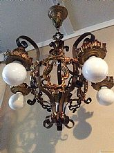 Beautiful Crystal and PolyChrome Art Deco Chandelier