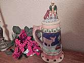 Beautifully hand-painted ceramic stein, Impressively sized bar decor, vintage 1970s folk art breweriana.
