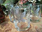 Three vintage 1960s Libbey Bar Glasses with a trio of silver leaves. Skeleton Leaf pattern Hi-Ball beverage glasses.