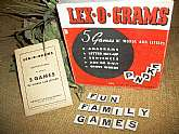 Lex-O-Grams Word Gam, Vintage 1949 , five games of words and letters for 2 to 6 people. Anagrams, Letter Mix-Up, Sentences, Add or O-U-T, and Cross Words.