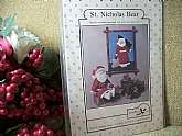 Jenny Wren Christmas Decoration Pattern. St. Nicholas Bear.Machine Appliqued Bear and Santa Bear Doll.