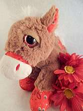 Vintage 1990s collectible keepsake toy horse, stuffed plush brown pony..
