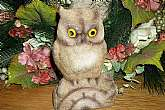 Flocked plastic owl coin bank made in Hong Kong, Vintage 1960s.