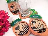 Set of four indoor or outdoor beverage serving coasters. Cork and wood pineapples at just the right touch for pool parties and luaus.