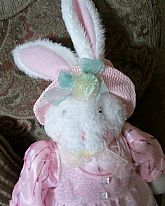 Adorable fancy white rabbit Springtime Easter Decor from Sun Point Co.