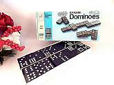 Halsam Double Nine Dragon 55 Piece wooden dominoes game, vintage 1970s made in the USA by Milton Bradley