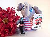 Coca Cola advertising elephant plush stuffed animal elephant Vintage 1988 COKE collectible.