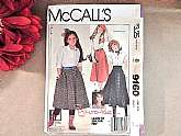 McCall's Girl's Skirt Sewing Pattern #9160, Vintage 1984Learn to Sew for Fun, Easy Fit, Brooke (Shields) patternFull skirt with yoke or pleats, side seam pockets. Back zipper and waistband or elastic waist pull on.Girls size 7Cut pattern, gently used