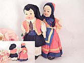 Pair of charming dolls made in Italy. Old world European Italian heritage boy and girl dolls. Vintage 1930s Stockingette Mask Face Collectible Dolls.
