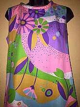"Vintage 60's Love Shack Shift DressSleeveless Multi colored retro MOD printRound tube neckline & Hem makes this dress extra funSlit pocket on left sideBack zipper closureDesigned By Smart TimeTagged at size 10Measures lying flatbust 18"" a"