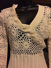 "Super cute crochet pullover SweaterWith rabbit fur accent that runs across center V-cut necklineBanded wrist and waist Small Measures lying flat Bust 17"" across Waist unstretched 15"" across Sleeves 27""Total length shoulder to hem 2"