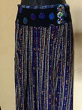 High Waist Maxi Skirt Flow On Slightly Longer At BackVery retro 80's print with multi color combo blues, purples & yellowsWrap waist band with two front button closure bButton are round multi color confetti lookPurple polka dot waist and hemSlouc