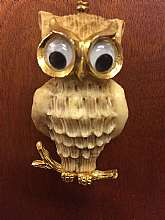 "Large owl pendantCarved out of what looks like boneHuge eye that are trimmed with goldSits on a gold limb Owl measures 2 1/2"" tallChain measures 24""long total Good vintage condition FREE U.S. SHIPPING"