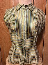 40s Novelty Silk Parlor Style Sleeveless Top button down  Small