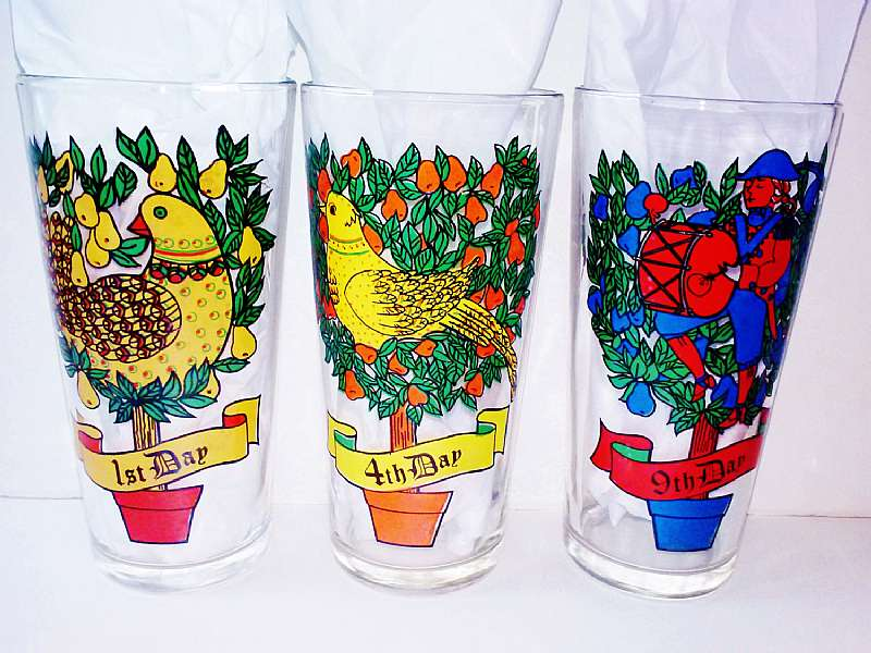 12 twelve days of christmas replacement glasses vintage new 4th colly birds water glass kitchen holiday