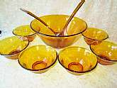 "Indiana Glass Golden Amber Salad Bowls Set Vintage 9 Piece w Fork & Spoon Home Kitchen Dining Serving Set 10"" bowl 5"" bowls #7764  Housewarming Christmas Gift.  This is a beautiful vintage set from Indiana Glass. It is a 9 piece set which in"