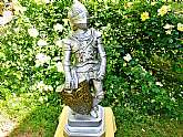 Large Medieval Knight Statue Vintage Chalkware Ceramic Figure Silver Knight Armor Gold Shield on Pedestal 2 Pc Sculpture Man Cave Home Office Decor Unique Housewarming Father's Day Mother's Day Gift. This is a spectacular vintage silver knight in armor wi