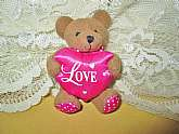 Teddy Bear Plush Magnet Vintage Refrigerator Magnet Sarah Coventry Stuffed Miniature Brown Bear Pink LOVE Heart
