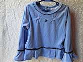 Girls Top Blouse Sz 5 Vintage Blue Velvet Flair Ruffle Cuffs Long Sleeve Embroidered Flowers Rose Cottage Dressy Fashion School Clothes