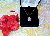 Cubic Zirconia Diamond Pendant Necklace Vintage NIB Domenico Gold Chain High Fashion Fine Jewelry