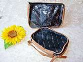 Cosmetic Toiletry Travel Bags Set Vintage Samsonite Shaving Makeup Tools Tan & Black Storage Zip Pouches Bags Unisex